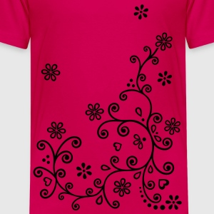 Summer flowering vine. Mehndi floral blossoms Shirts - Teenage Premium T-Shirt