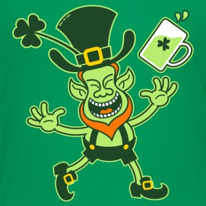 Euphoric Leprechaun Celebrating St Patrick's Day S - Teenage Premium T-Shirt
