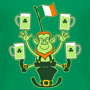 Leprechaun Juggling Beers and Irish Flag Shirts - Teenage Premium T-Shirt