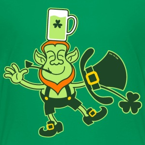 Leprechaun Balancing a Glass of Beer on his Head S - Teenage Premium T-Shirt
