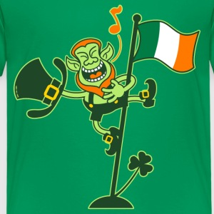 Leprechaun Singing on an Irish Flag Pole Shirts - Kids' Premium T-Shirt