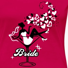Bride - Braut - Team - JGA - Cocktail - Herz - 2C T-Shirts