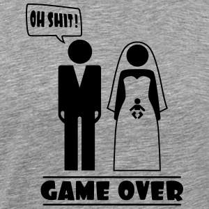 Wedding with baby inside - oh shit - game over T-Shirts - Men's Premium T-Shirt