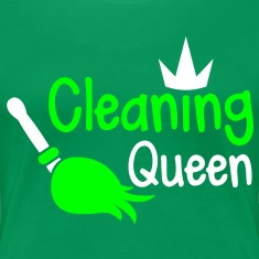 cleaning queen with a broom and a royal crown T-Shirts