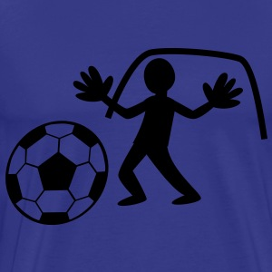 GOALIE with gloves saving the ball T-Shirts - Men's Premium T-Shirt
