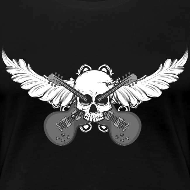 Winged skull with guitars