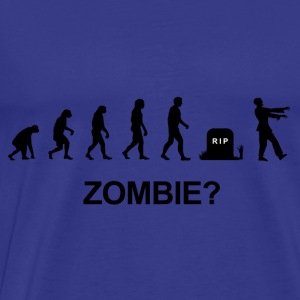 Darwin Evolution and zombie - Herre premium T-shirt