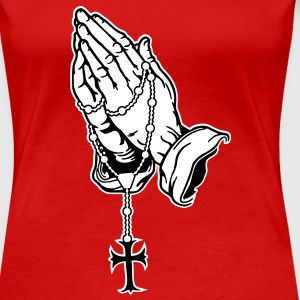 Praying Hands mit Rosenkranz T-Shirts - Women's Premium T-Shirt