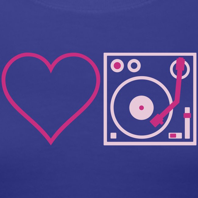 I DJ - Love DJ - Heart DJ - 2 color FLOCK print