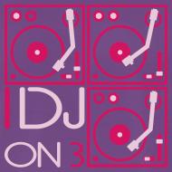 Design ~ I DJ - 3 Turntables - Square Flock Print, 2 color
