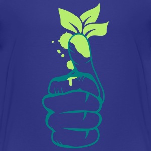 A hand with green leaves on the thumb Shirts - Teenage Premium T-Shirt