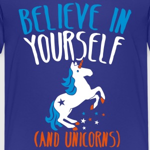 BELIEVE in yourself (AND UNICORNS) rough  Shirts - Kids' Premium T-Shirt