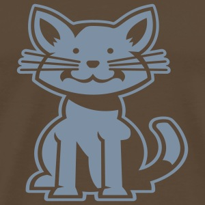 Brown Smiling Cat Negative T-Shirts - Men's Premium T-Shirt