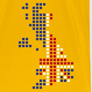 Gul UK - Great Britain flag pixel map T-Shirts - Herre premium T-shirt