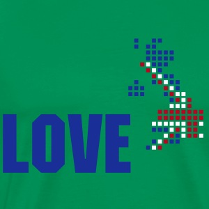 Grass green UK flag pixel map T-Shirts - Men's Premium T-Shirt