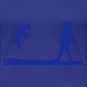 Aqua Girl and dog playing Ladies' - Women's Premium T-Shirt