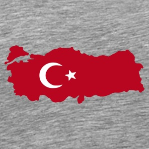 Gråmeleret turkey flag map T-Shirts - Herre premium T-shirt