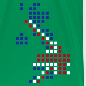 Flaskegrøn UK - Great Britain flag pixel map T-Shirts - Herre premium T-shirt