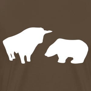 Brown Stock Market - Bull/Taurus & Bear T-Shirts - Men's Premium T-Shirt