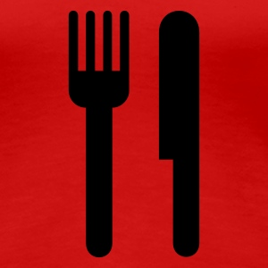 Cutlery,Knife,Fork,Hunger,Restaurant - Women's Premium T-Shirt