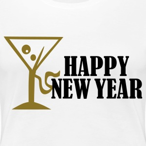 Vit Happy New Year T-shirts (kort ärm) - Premium-T-shirt dam