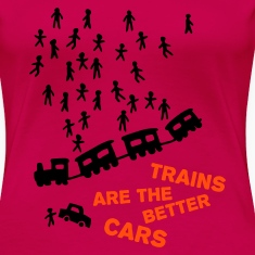 Light pink Trains are the better cars Women's Tees (short sleeved)