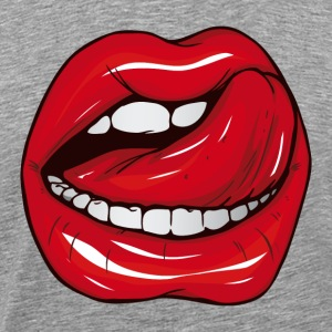 Heather grey Lips T-Shirts - Men's Premium T-Shirt