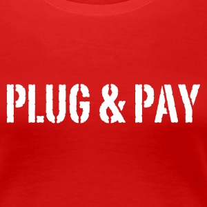 Stereo rot Plug & Pay© T-Shirts - Dame premium T-shirt