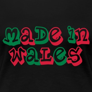 Made in Wales Ladies T-Shirt Black - Women's Premium T-Shirt