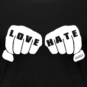 Noir love vs hate T-shirts - T-shirt Premium Femme