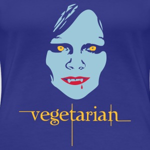 Royal blue vegetarian vampire Women's T-Shirts - Dame premium T-shirt