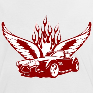 Weiß/rot Wings at Car - feuerrot T-Shirts - T-shirt contraste Femme