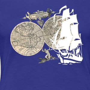 Ship + Map T-shirts - Dame premium T-shirt