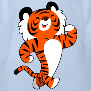 Cute Strong Cartoon Tiger by Cheerful Madness!! Shirts - Organic Short-sleeved Baby Bodysuit