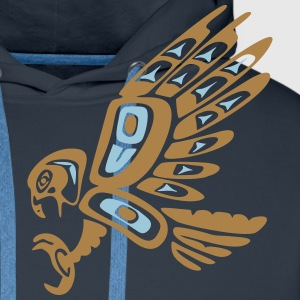 Native american falcon - tribal art symbol, indian Felpe - Felpa con cappuccio premium da uomo