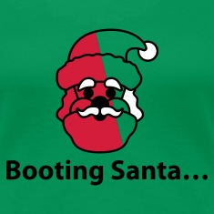 Kelly green Booting Santa © T-Shirts