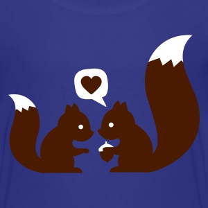 Turkos squirrels in love - to give each other Barn-T-shirts - Premium-T-shirt tonåring