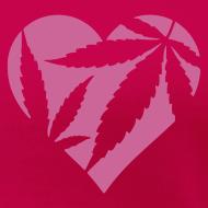 Design ~ Cannabis Herz (pink/glitter) Girlie-Shirt