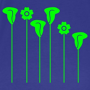 Divablauw bloemen op stokken / flowers on sticks (1c) T-shirts - Mannen Premium T-shirt
