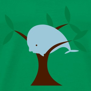 Moss green Whale in Tree Men's T-Shirts - Men's Premium T-Shirt