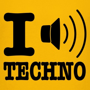 Geel I love techno / I speaker techno Kinder shirts - Teenager Premium T-shirt