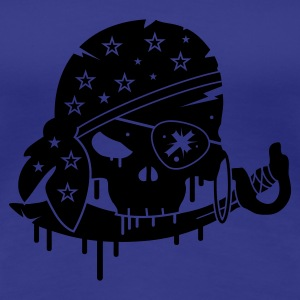 Aqua Pirate skull with sword and eye patch Women's T-Shirts - Women's Premium T-Shirt