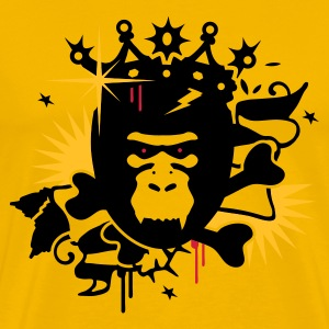 Yellow King Kong - gorilla with a crown Men's T-Shirts - Men's Premium T-Shirt