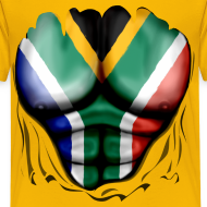 Design ~ South Africa Flag Ripped Muscles, six pack, chest t-shirt