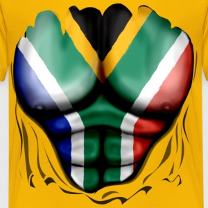 South Africa Flag Ripped Muscles, six pack, chest  - Teenage Premium T-Shirt