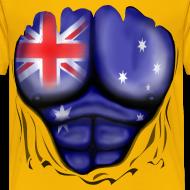 Design ~ Australia Flag Ripped Muscles, six pack, chest t-shirt