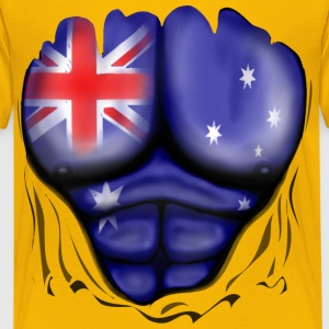 Australia Flag Ripped Muscles, six pack, chest t-s - Teenage Premium T-Shirt