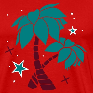 Red Two palm trees on the beach Men's T-Shirts - Men's Premium T-Shirt