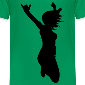 Kelly green silhouette woman pose Kids' Shirts - Teenage Premium T-Shirt