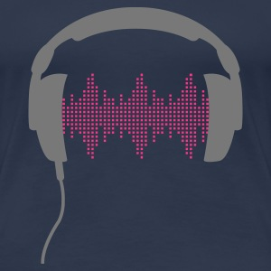 Jeans blue DJ headphone rhytm frequency equalizer Women's T-Shirts - Women's Premium T-Shirt